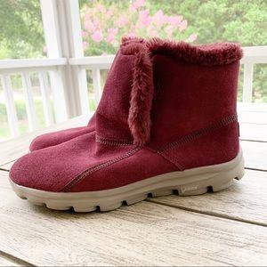 SKECHERS GoWalk Fur Lined Burgundy Boots